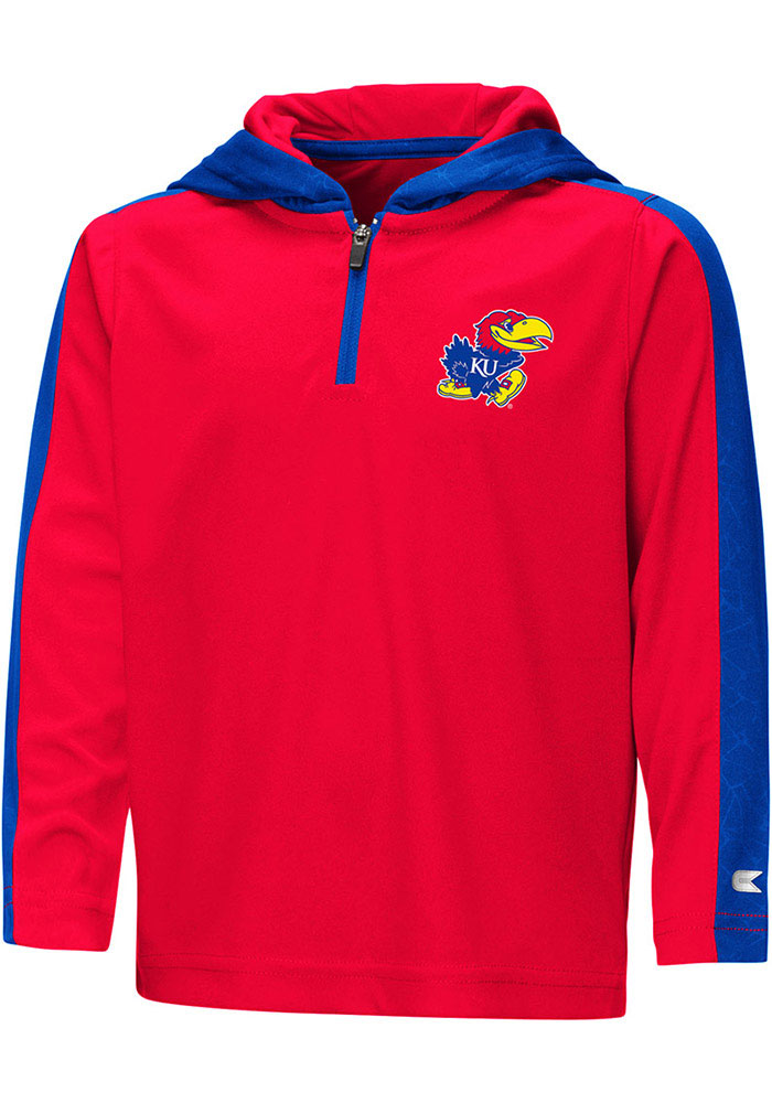 Colosseum Kansas Jayhawks Toddler Red Helisking Long Sleeve 1/4 Zip - Image 1
