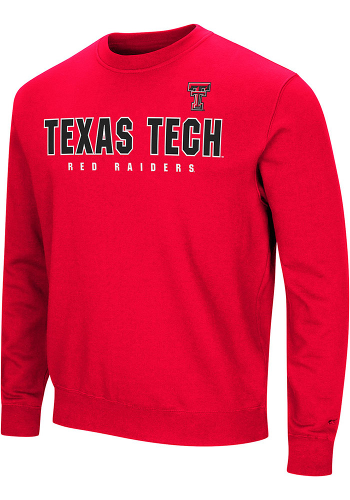 Colosseum Texas Tech Red Raiders Mens Red Playbook Long Sleeve Crew Sweatshirt - Image 1