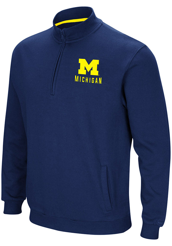 Colosseum Michigan Wolverines Mens Navy Blue Playbook Long Sleeve 1/4 Zip Pullover - Image 1