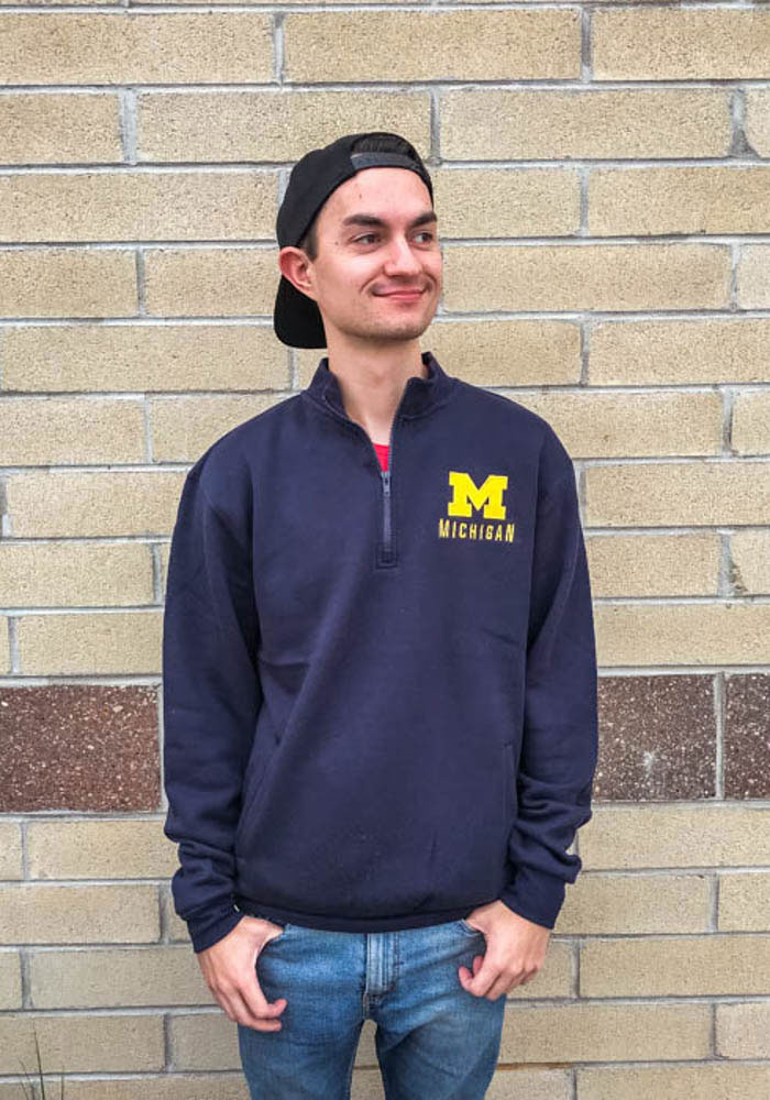 Colosseum Michigan Wolverines Mens Navy Blue Playbook Long Sleeve 1/4 Zip Pullover - Image 3