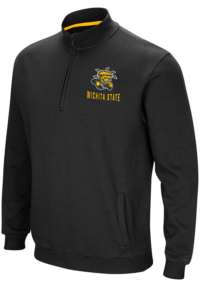 Colosseum Wichita State Shockers Mens Black Playbook Long Sleeve 1/4 Zip Pullover - Image 1