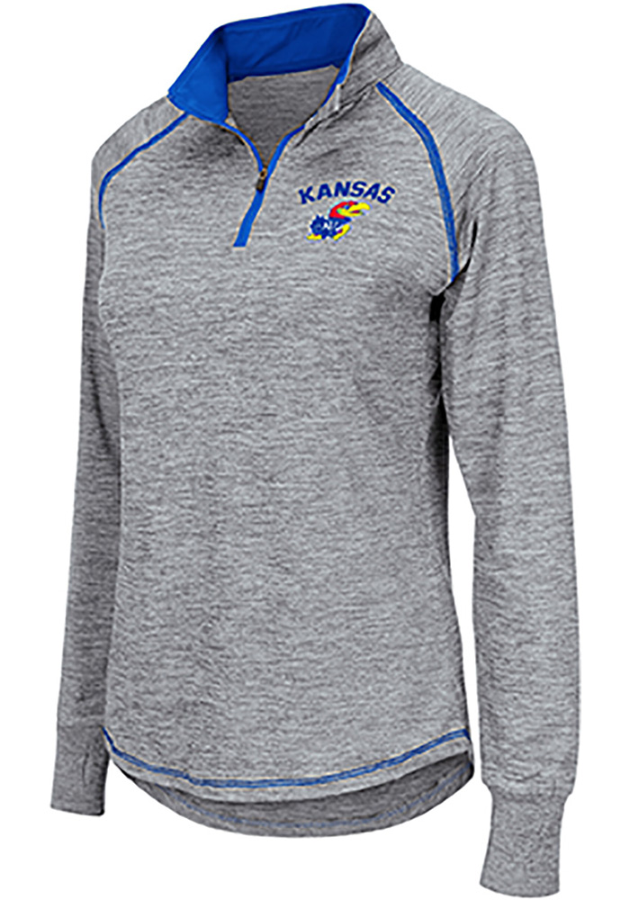 Colosseum Kansas Jayhawks Womens Athena Grey 1/4 Zip Pullover