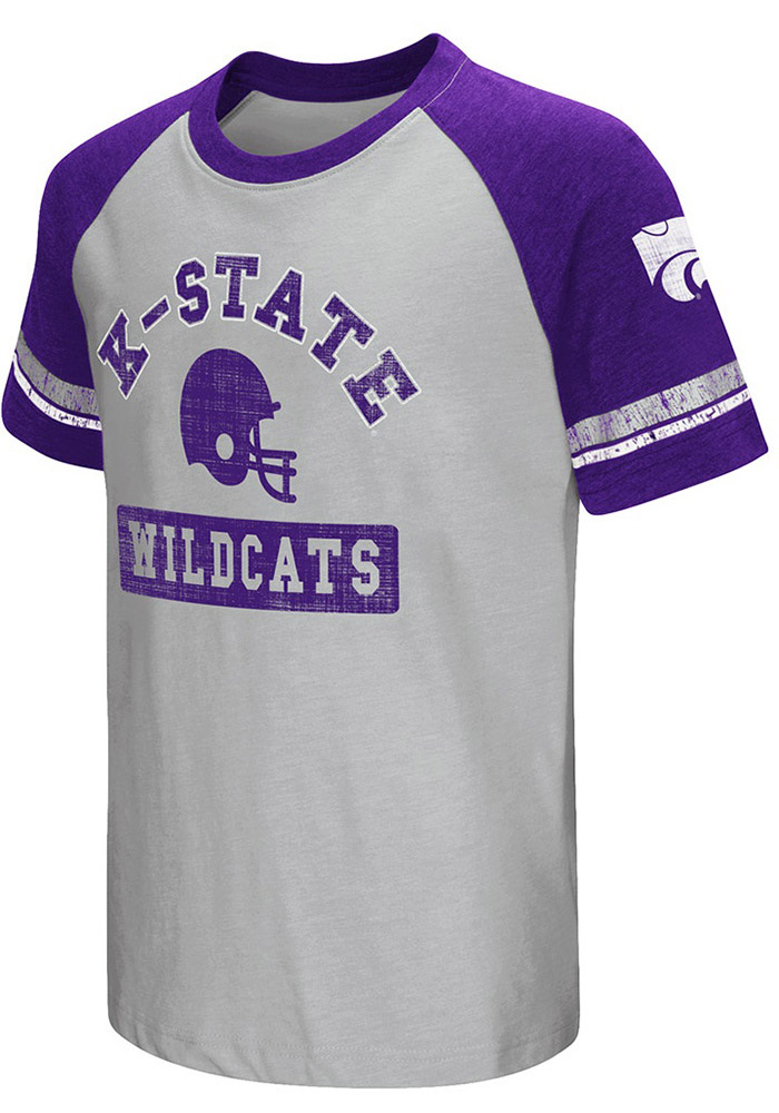 Colosseum K-State Wildcats Youth Grey All Pro Short Sleeve Fashion T-Shirt - Image 1