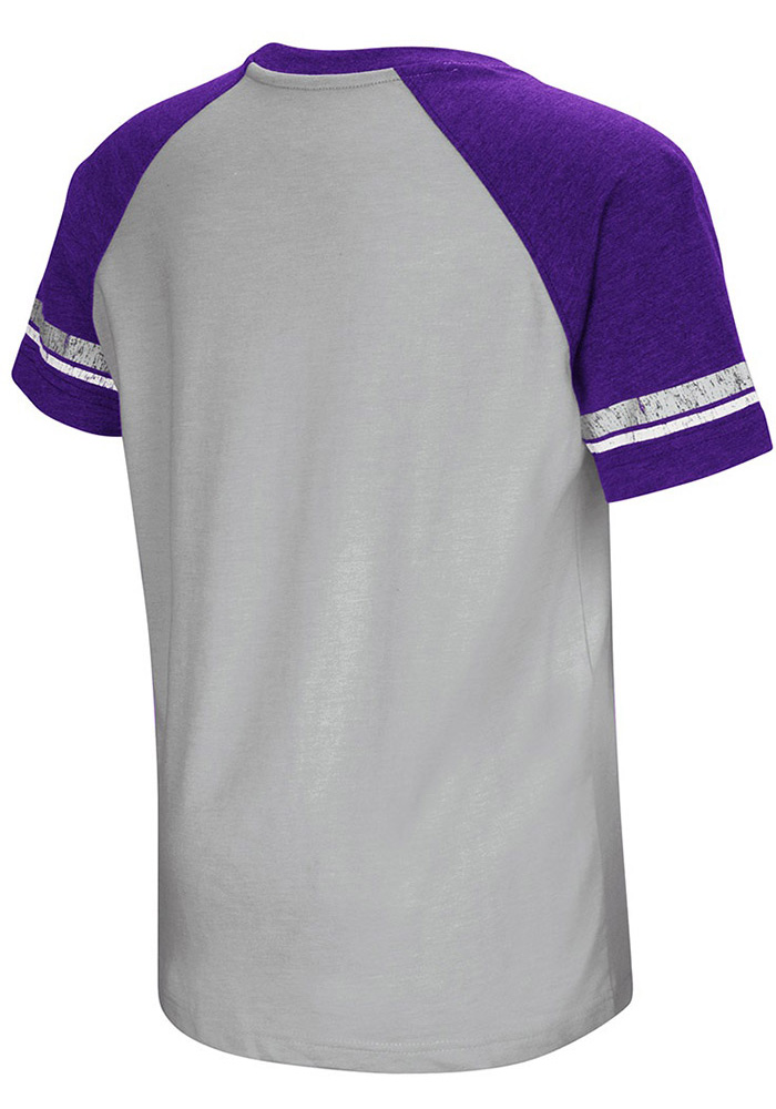 Colosseum K-State Wildcats Youth Grey All Pro Short Sleeve Fashion T-Shirt - Image 2