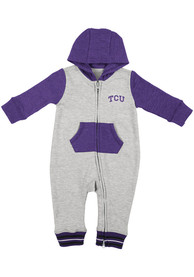 TCU Horned Frogs Baby Colosseum Axel One Piece - Grey