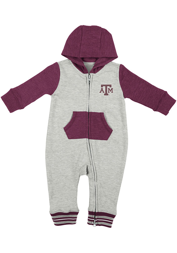 Colosseum Texas A&M Aggies Baby Grey Axel Long Sleeve One Piece - Image 1