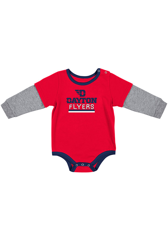 Colosseum Dayton Flyers Baby Red Button Lift Long Sleeve One Piece - Image 1