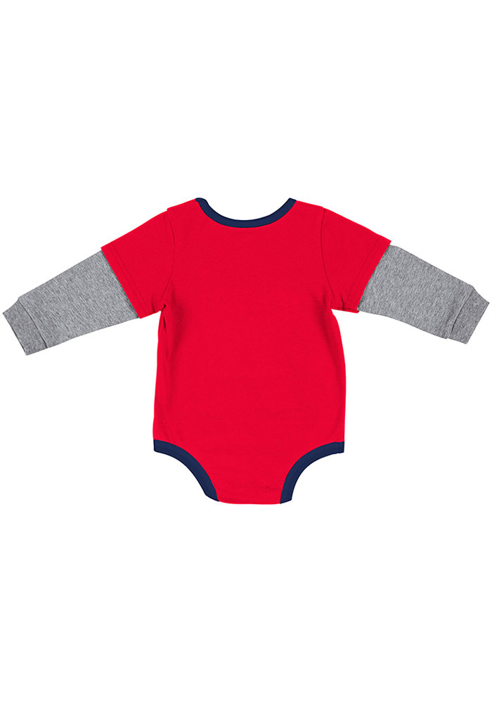 Colosseum Dayton Flyers Baby Red Button Lift Long Sleeve One Piece - Image 2