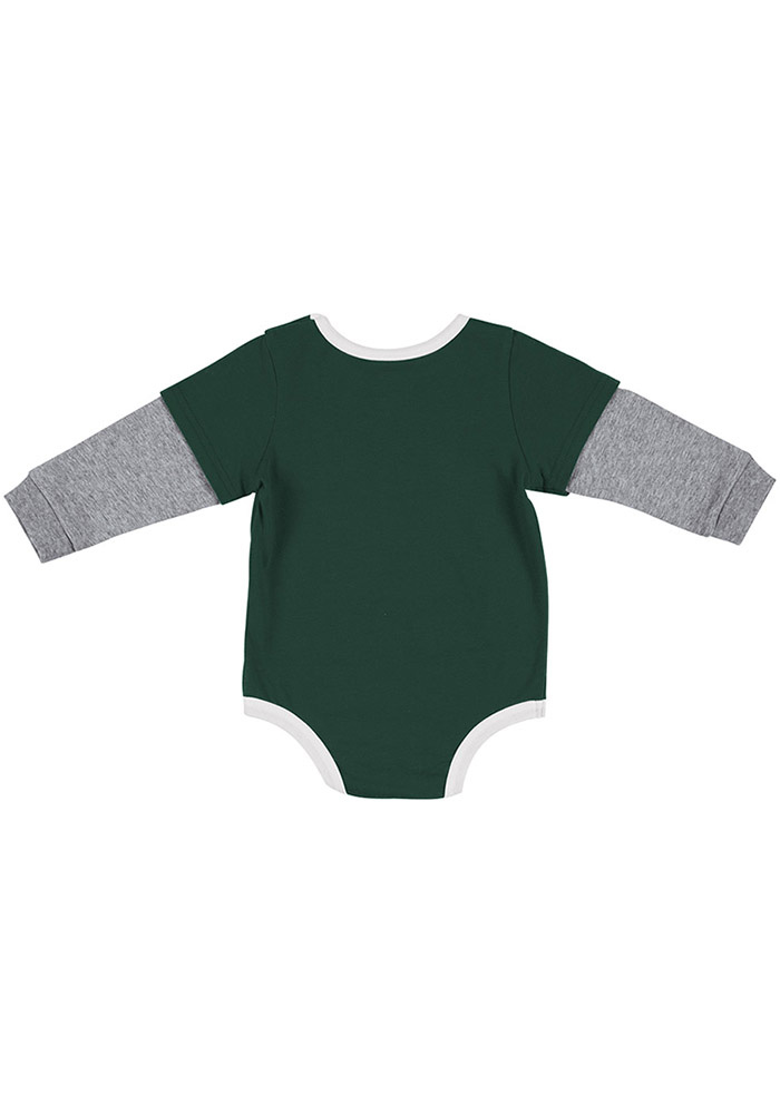 Colosseum Michigan State Spartans Baby Green Button Lift Long Sleeve One Piece - Image 2
