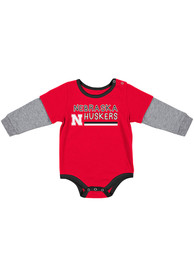 Nebraska Cornhuskers Baby Colosseum Button Lift One Piece - Red