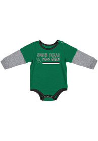 North Texas Mean Green Baby Colosseum Button Lift One Piece - Kelly Green