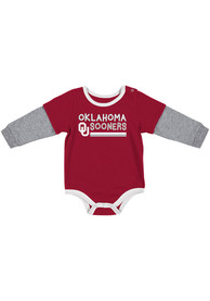 Oklahoma Sooners Baby Colosseum Button Lift One Piece - Crimson