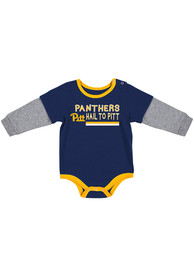 Pitt Panthers Baby Colosseum Button Lift One Piece - Blue