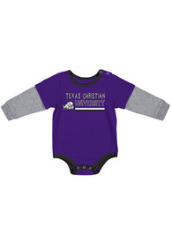 TCU Horned Frogs Baby Colosseum Button Lift One Piece - Purple