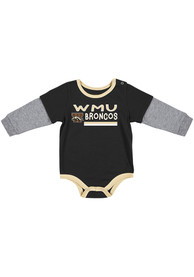 Western Michigan Broncos Baby Colosseum Button Lift One Piece - Black