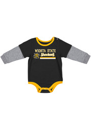 Colosseum Wichita State Shockers Baby Black Button Lift Long Sleeve One Piece