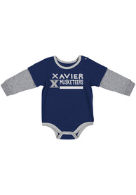 Xavier Musketeers Baby Colosseum Button Lift One Piece - Navy Blue