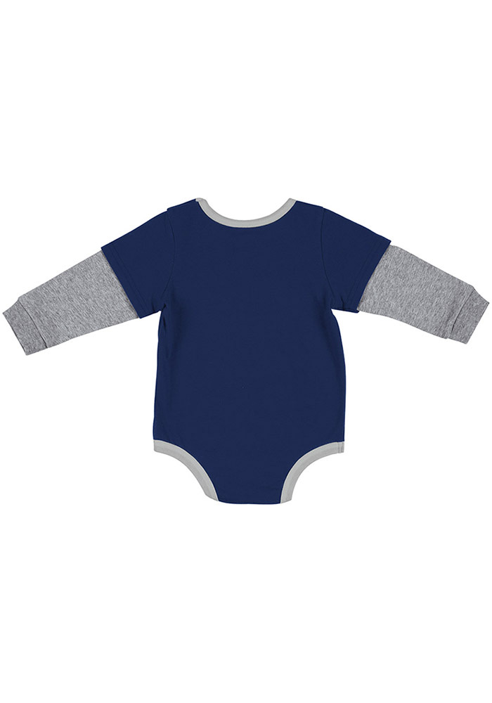Colosseum Xavier Musketeers Baby Navy Blue Button Lift Long Sleeve One Piece - Image 2