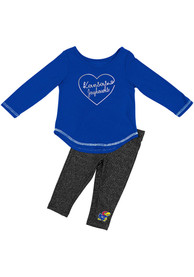 Kansas Jayhawks Infant Girls Colosseum Ice Top and Bottom - Blue