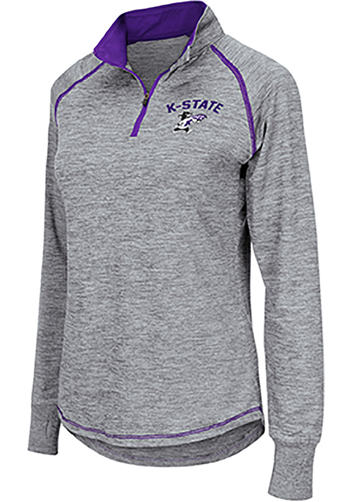 Colosseum K-State Wildcats Womens Grey Athena 1/4 Zip Pullover - Image 1