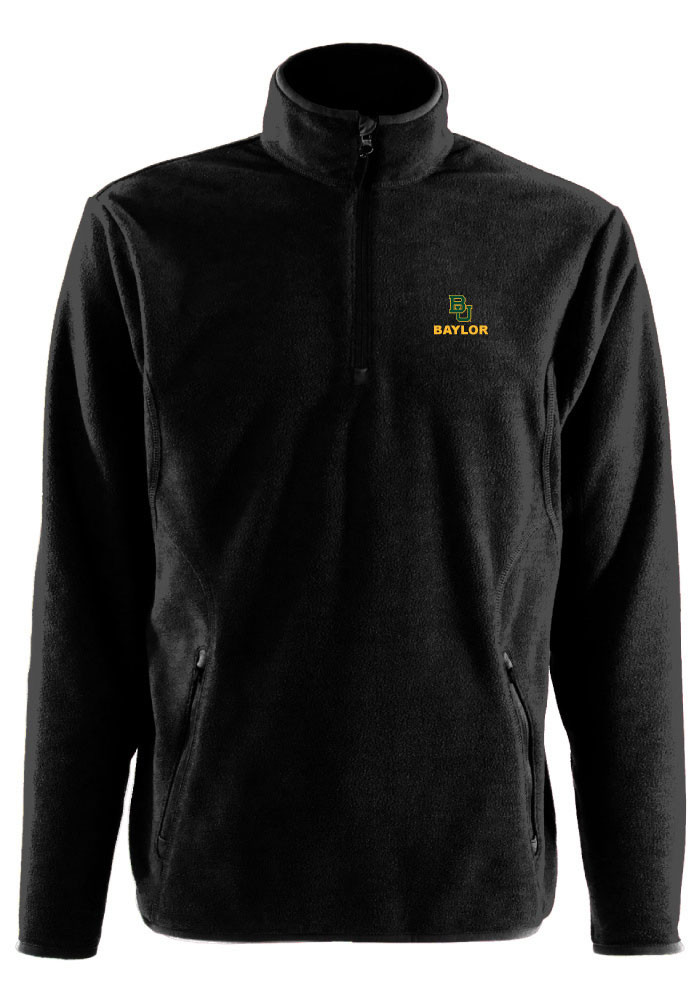 Antigua Baylor Bears Mens Black Ice Long Sleeve 1/4 Zip Pullover - Image 1