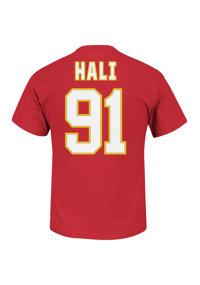 Tamba Hali Kansas City Chiefs Red Name and Number Short Sleeve Player T Shirt - Image 1