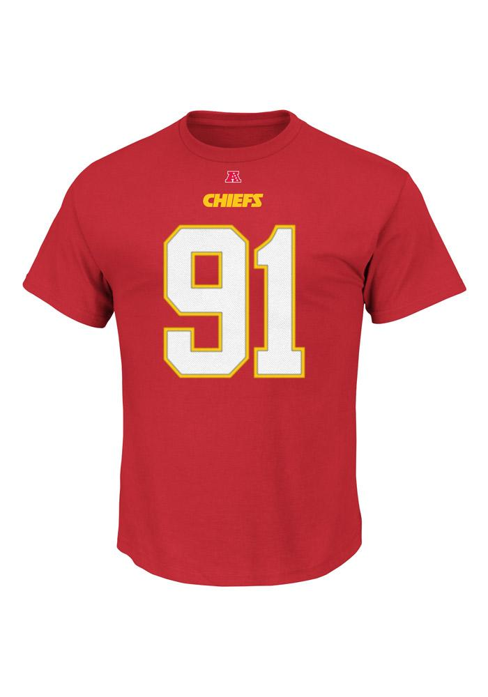 Tamba Hali Kansas City Chiefs Red Name and Number Short Sleeve Player T Shirt - Image 3