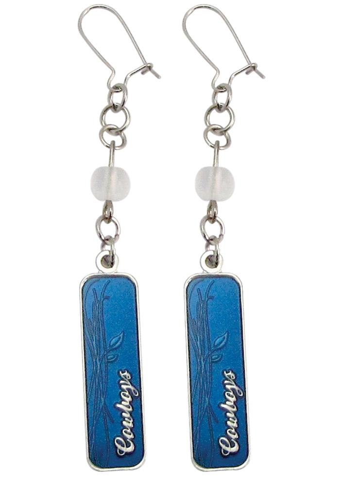 Dallas Cowboys Silver Chain Frosted Bead Womens Earrings - Image 1