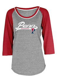 Pennsylvania Quakers Juniors 3/4 Raglan Grey Scoop Neck Tee