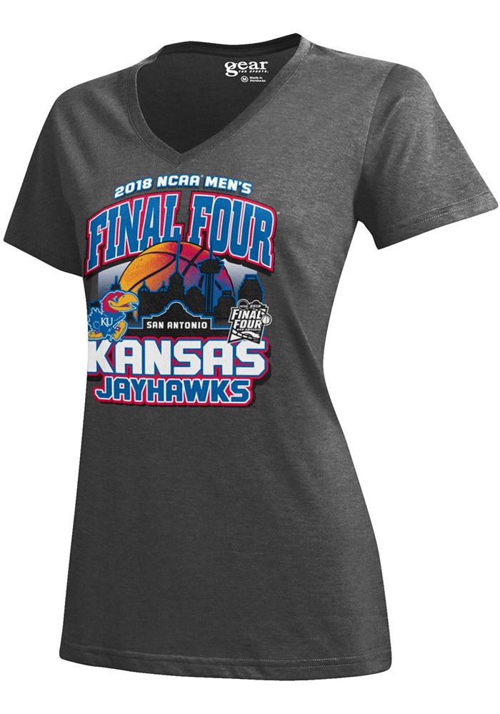 Kansas Jayhawks Womens Charcoal Desert Ball Short Sleeve T-Shirt - Image 1