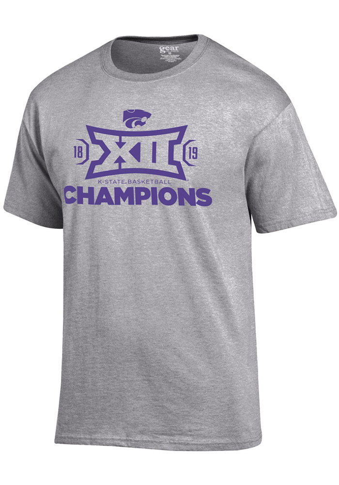 d968a2ec7 K-State Wildcats Grey 2019 Big 12 Champions Short Sleeve T Shirt - Image 1