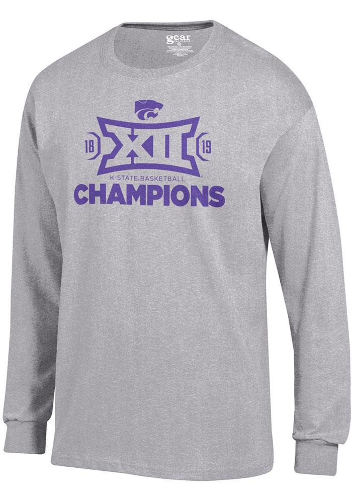 K-State Wildcats Grey 2019 Big 12 Champions Long Sleeve T Shirt - Image 1