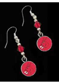 Central Missouri Mules Womens Round Swarovski Earrings - Silver