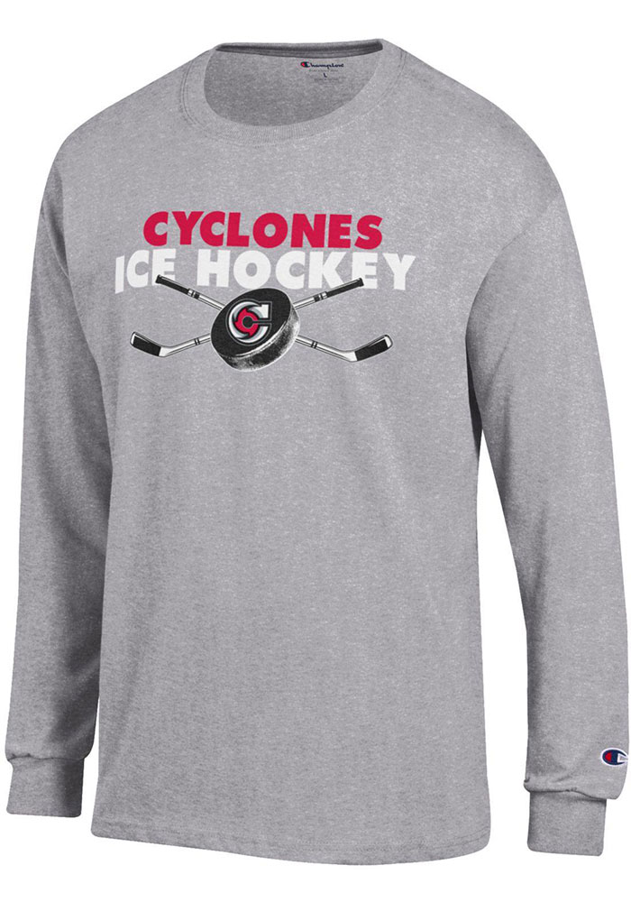 Champion Cincinnati Cyclones Grey Sticks And Puck Long Sleeve T Shirt - Image 1