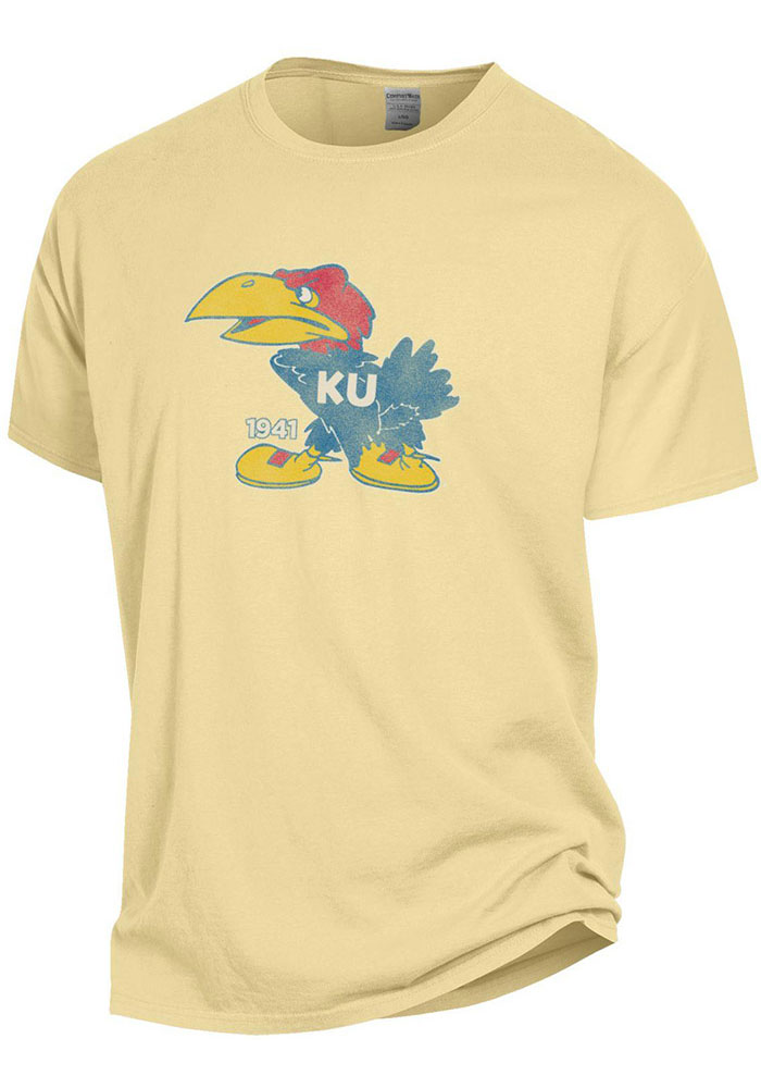 Kansas Jayhawks Comfort Wash Big 41 Logo T Shirt - Yellow