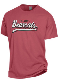 Cincinnati Bearcats Womens Comfort Wash Retro Script T-Shirt - Red