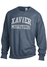 Xavier Musketeers Womens Comfort Wash Crew Sweatshirt - Navy Blue