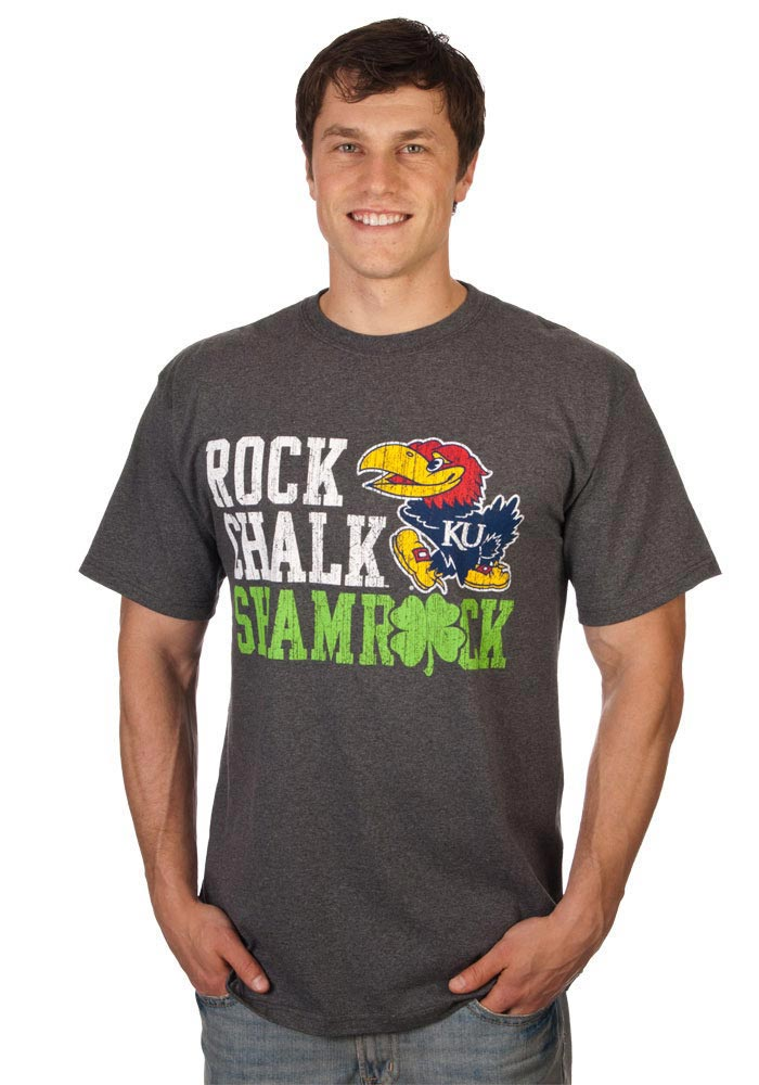 Kansas Jayhawks Grey Shamrock Short Sleeve T Shirt - Image 1