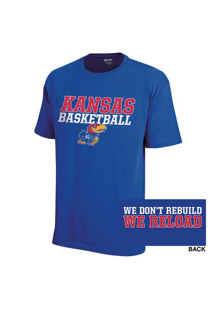 Kansas Jayhawks Blue Basketball Reload Short Sleeve T Shirt - Image 1