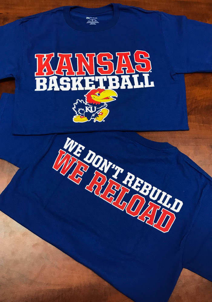 Kansas Jayhawks Blue Basketball Reload Short Sleeve T Shirt - Image 2