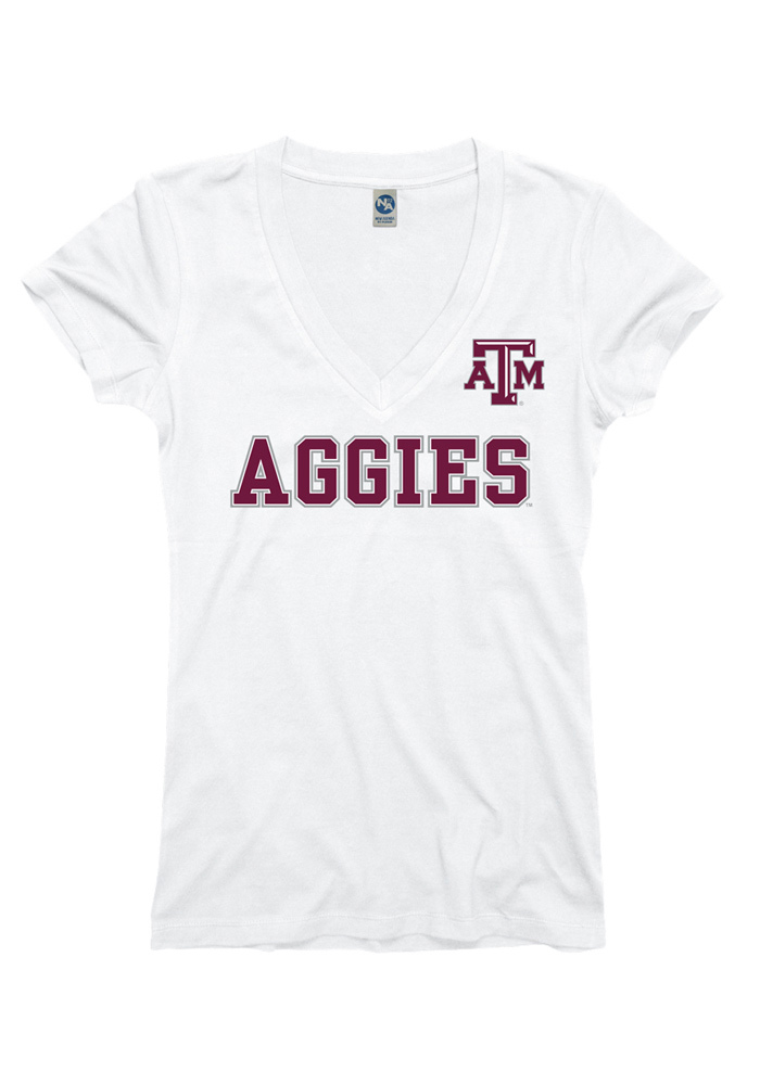 Texas A&M Aggies Juniors White Straightaway V-Neck T-Shirt - Image 1