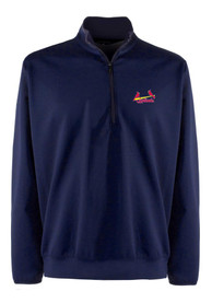 St Louis Cardinals Antigua Leader 1/4 Zip Pullover - Navy Blue