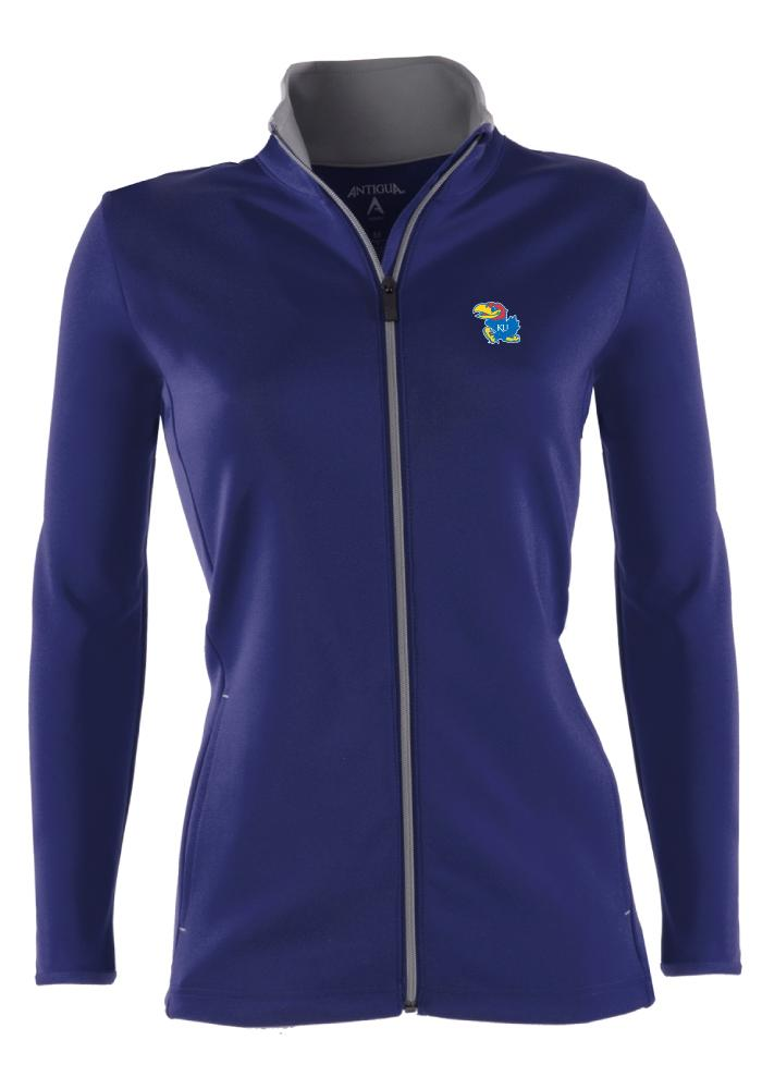 Antigua Kansas Jayhawks Juniors Blue Leader Shine Light Weight Jacket - Image 1