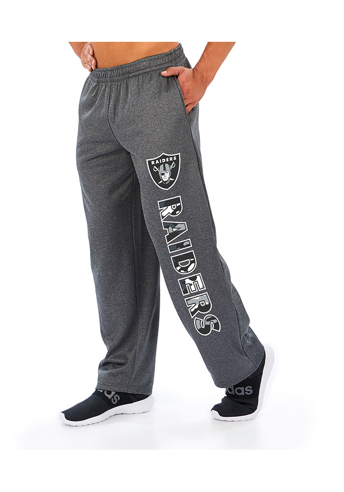 Zubaz Oakland Raiders Mens Grey Poly-Fleece Sweatpants - Image 1