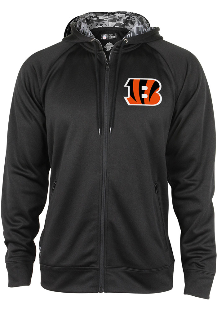 Zubaz Cincinnati Bengals Mens Black Digital Camo Full Zip Long Sleeve Hoodie - Image 1
