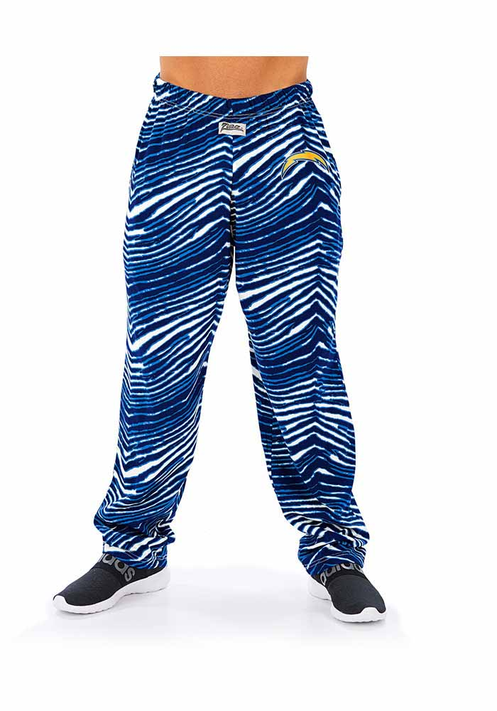 Zubaz Los Angeles Chargers Mens Blue Traditional Three Color Zebra Sleep Pants - Image 1
