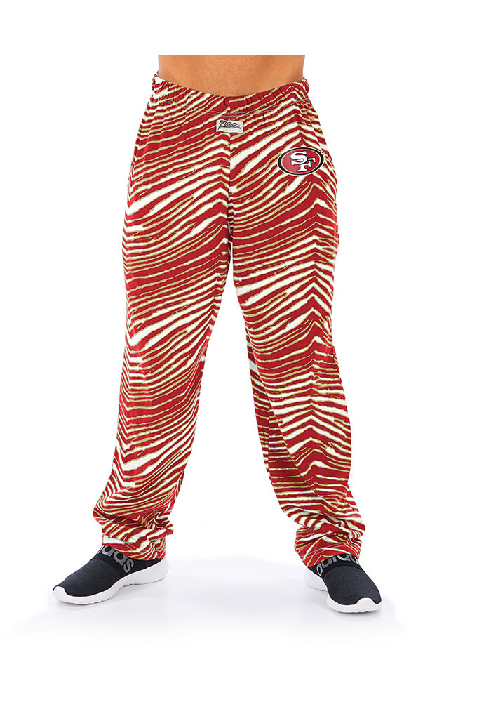Zubaz San Francisco 49ers Mens Red Traditional Three Color Zebra Sleep Pants - Image 1