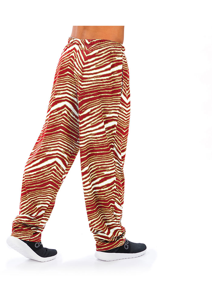 Zubaz San Francisco 49ers Mens Red Traditional Three Color Zebra Sleep Pants - Image 2