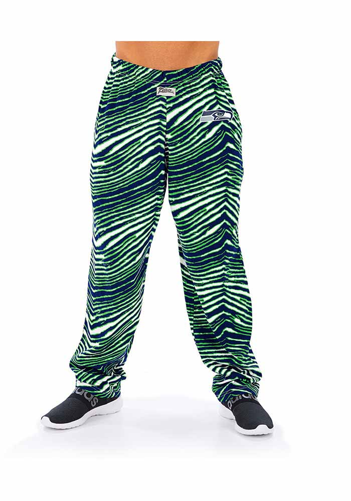 Zubaz Seattle Seahawks Mens Green Traditional Three Color Zebra Sleep Pants - Image 1