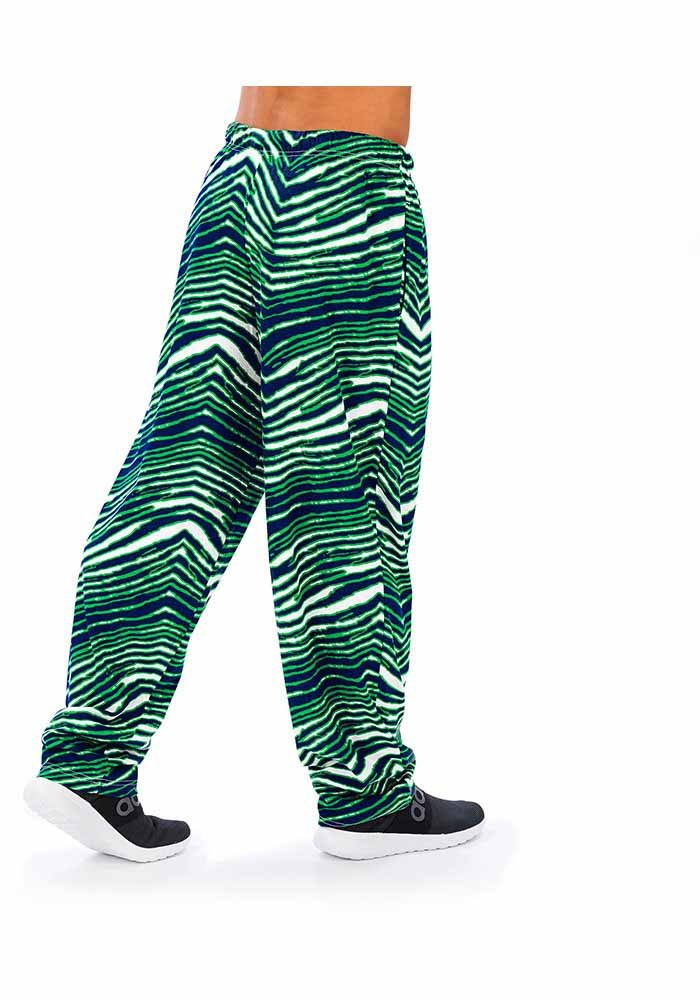 Zubaz Seattle Seahawks Mens Green Traditional Three Color Zebra Sleep Pants - Image 2